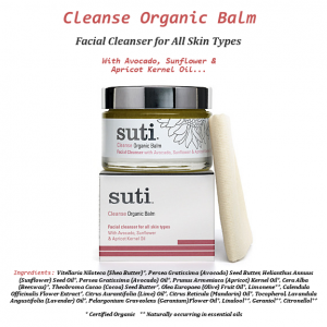 Gentle Face Cleanser + Exfoliant + Moisturizer + Face Mask : Suti CLEANSE Organic Facial Cleansing Balm & Muslin Cloth