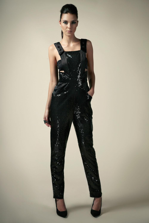 Boutique Alice Satin Strap Sequin Dungaree