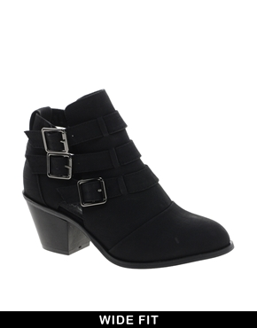 New Look Wide Fit Cave Black Cut Out Heeled Ankle Boots