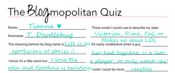 The Blogmopolitan Quiz: Things You Probably Didn't Know About Me