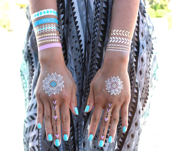 This Summer's Hottest Beauty Trend: Metallic Flash Tattoos