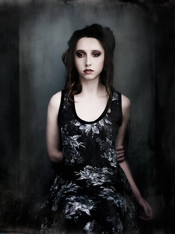 black floral gothic dress