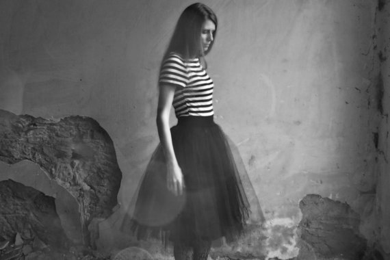 stripe and tulle black dress