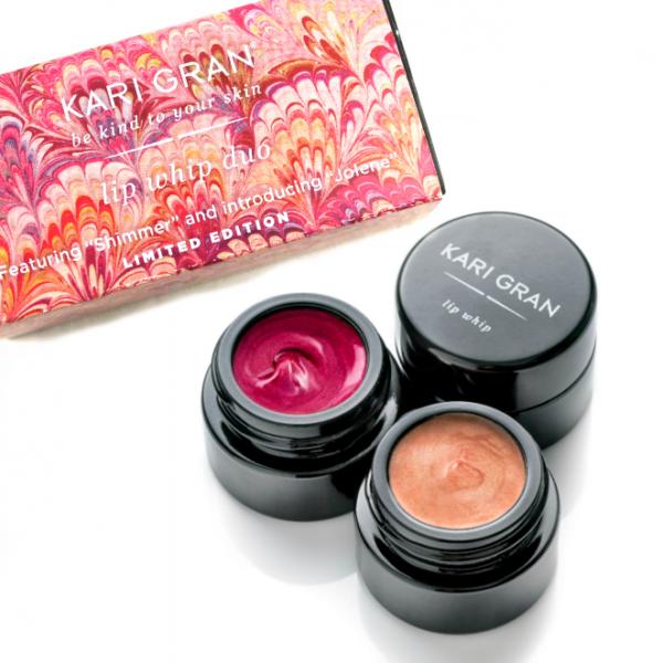 kari gran lip whip holiday duo - green beauty gift guide