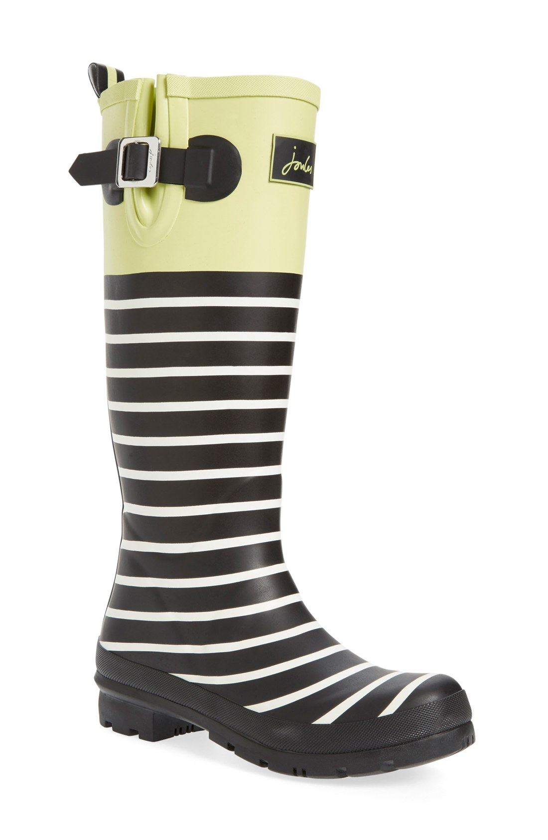 joules stripe and lime green rain boots