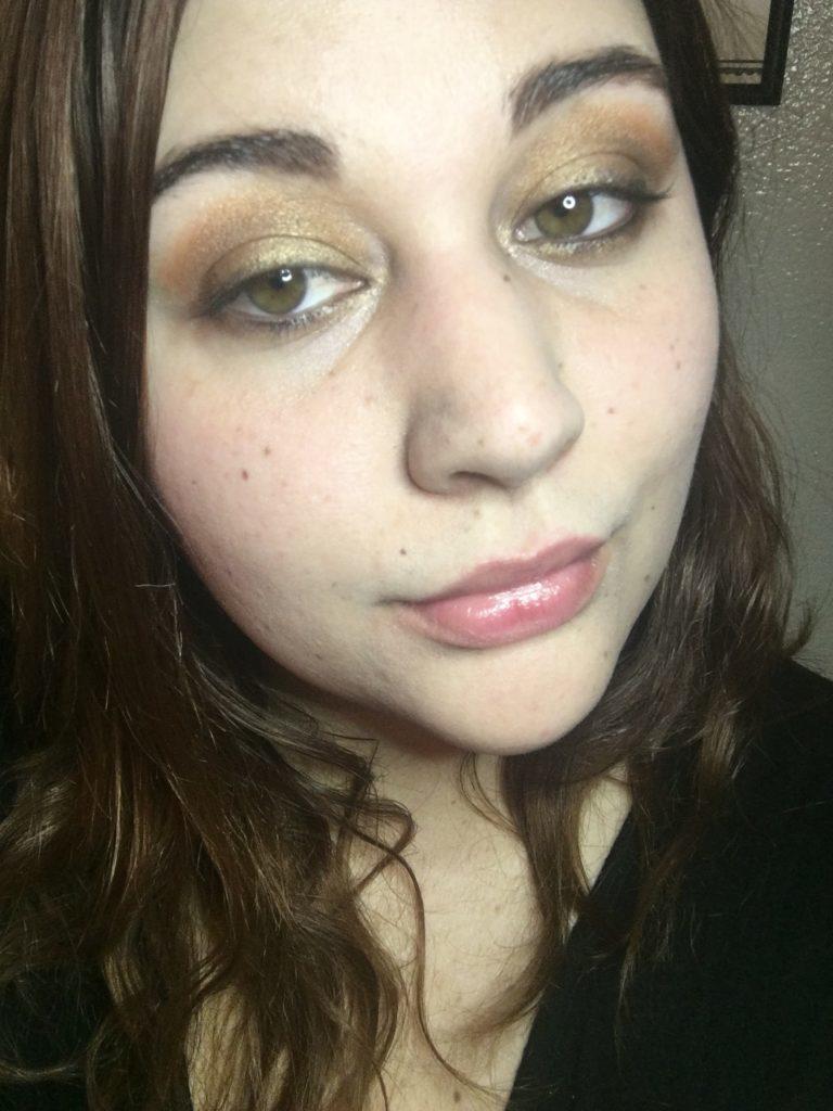 Gold Eye Makeup and Natural Pink Lips