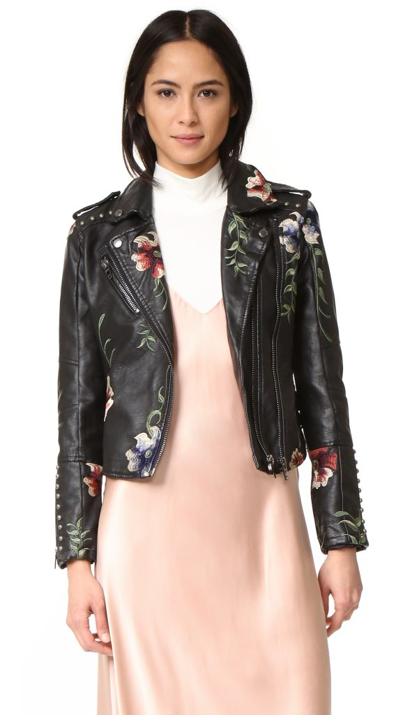 Embroidered Floral Moto Jacket