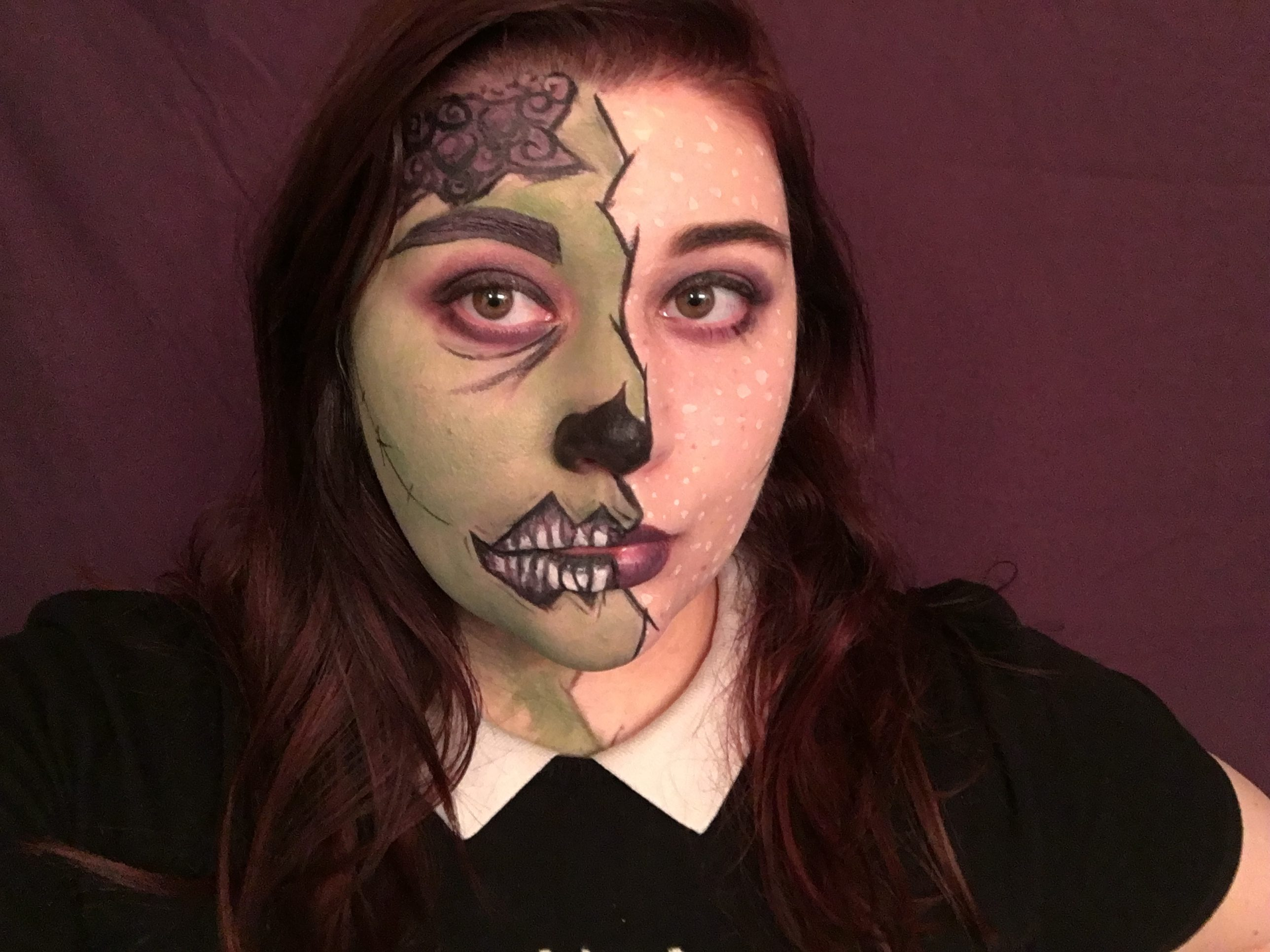 Pop Art Zombie Makeup Tutorial - Click through to see the full organic makeup tutorial to